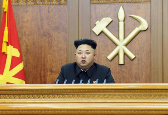 North Korean leader Kim Jong Un delivers a New Year's address